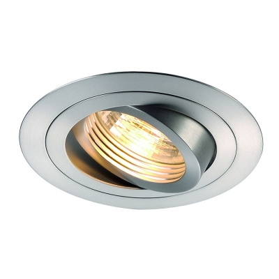 Встраиваемый поворотный светильник SLV New tria I GU10 Round Downlight, alu brushed, max. 50W, inkl. Clipfedern 111360
