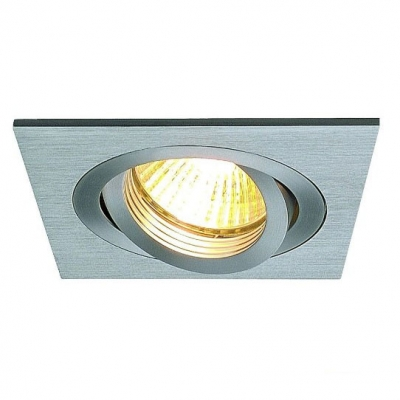 Встраиваемый поворотный светильник SLV New tria I GU10 Square Downlight, alu brushed, max. 50W, inkl. Clipfedern 111361
