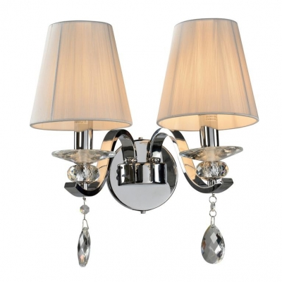 Бра NEWPORT 11802/A Nickel Clear crystal Shade white