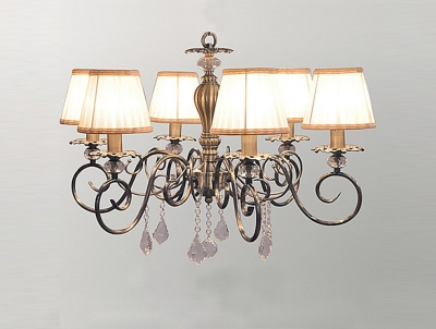 Подвесная люстра Newport Античная бронза 2100 2106/C Antique bronze Clear crystal Shade beige