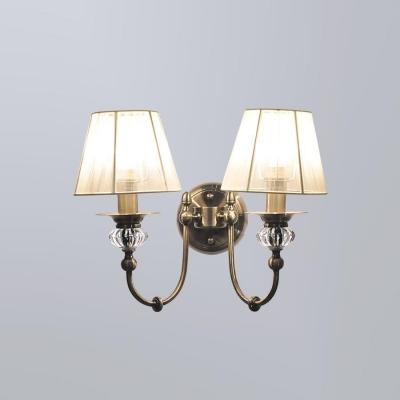 Бра Newport Античная бронза 2200 2202/A Antique bronze Clear crystal Shade beige without PVC transparent wire ленточный
