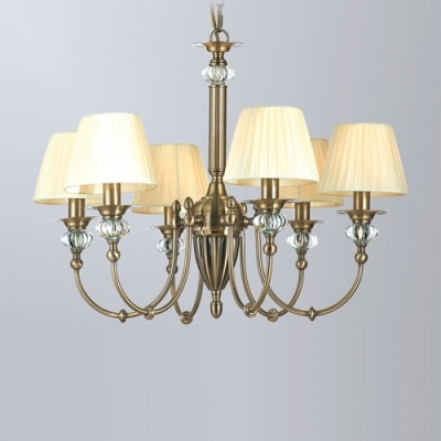 Подвесная люстра Newport Античная бронза 2200 2206/C Antique bronze Clear crystal Shade beige ленточный