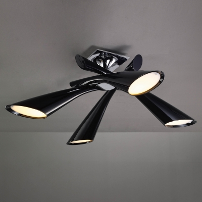Люстра на штанге Mantra Pop Negro Semiceiling/Ceiling 4 lights 0901 Black Lacquer