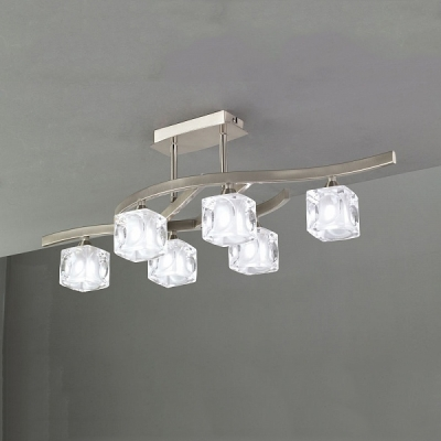 Потолочный светильник Mantra Cuadrax Sn Semiceiling 6 lights 0004023 Satin Nickel