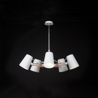 Люстра на штанге Mantra Looker Pendant 5 lights 3770 White + Wood